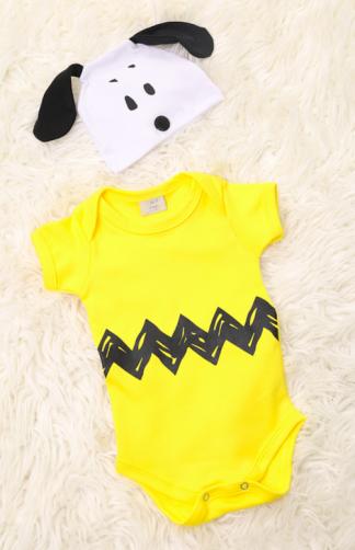 Body Bebê Infantil Charlie Brown / snoopy com touca