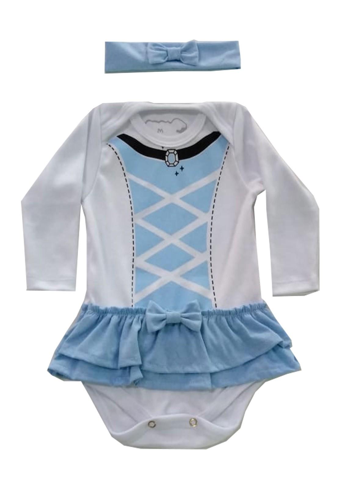 Body Bebê Infantil Cinderela com lacinho