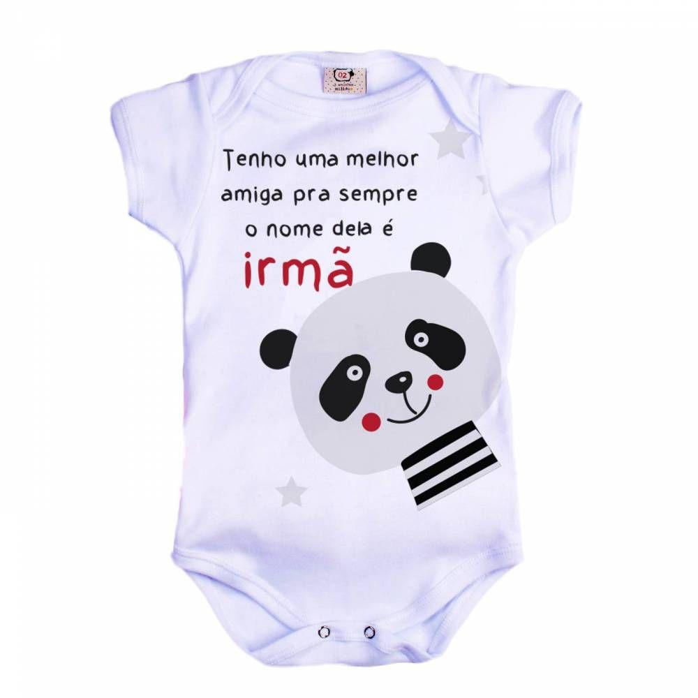 Body Bebê Infantil Irmã Panda