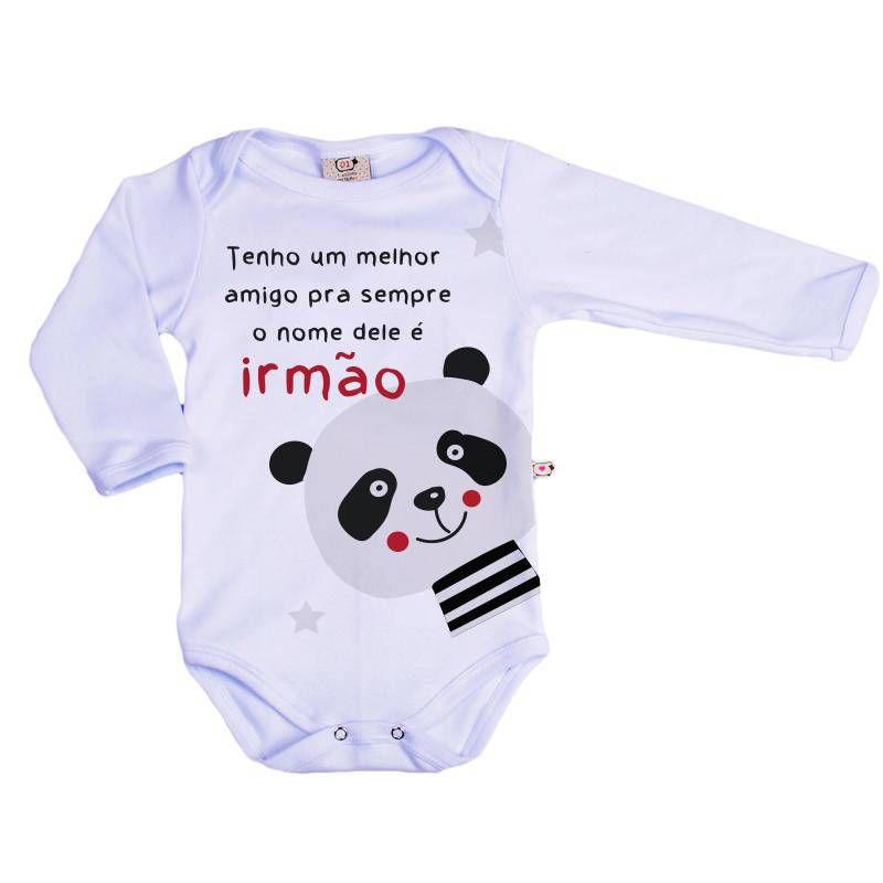 Body Bebê Infantil Irmão Panda