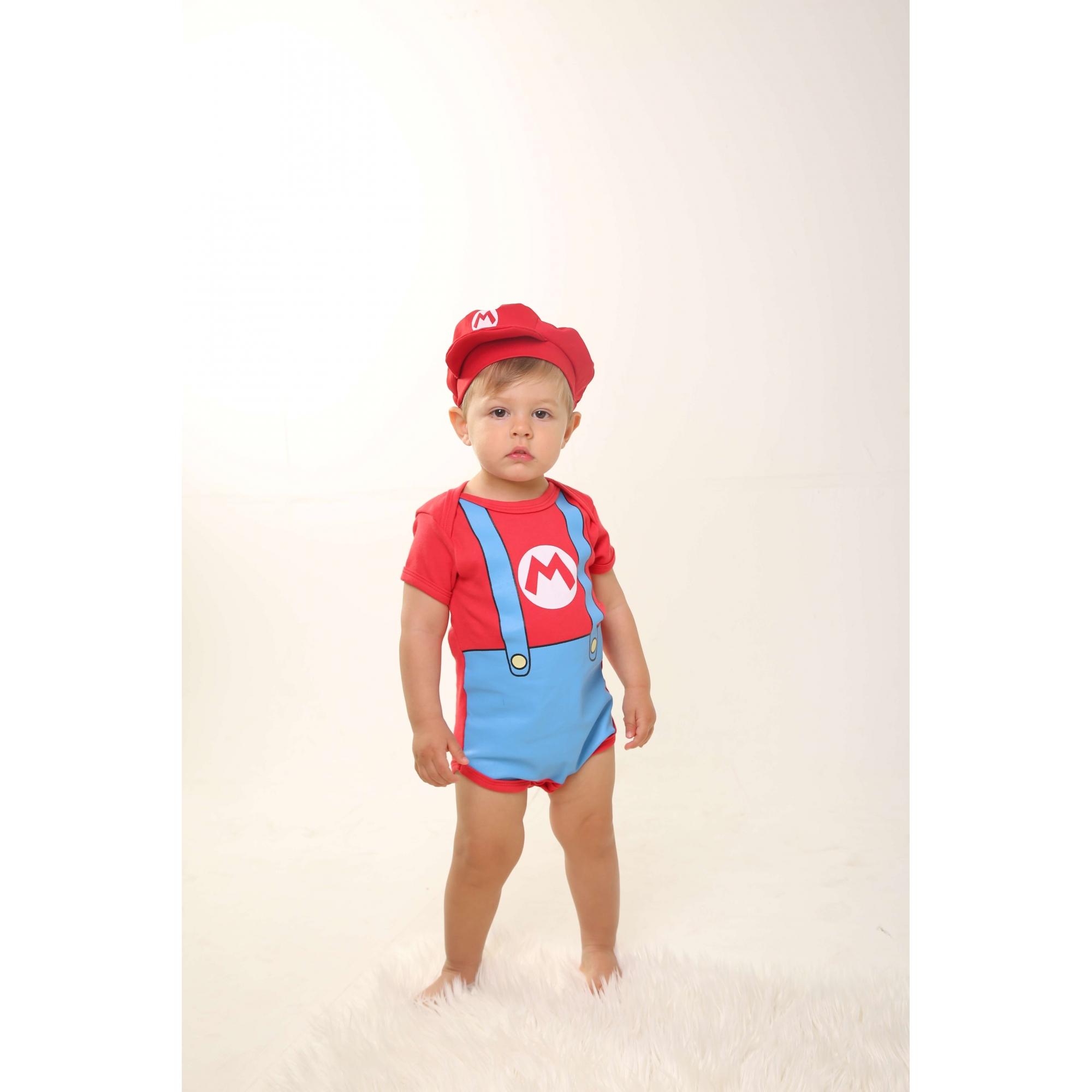 Body Bebê Infantil Super Mário com Boina