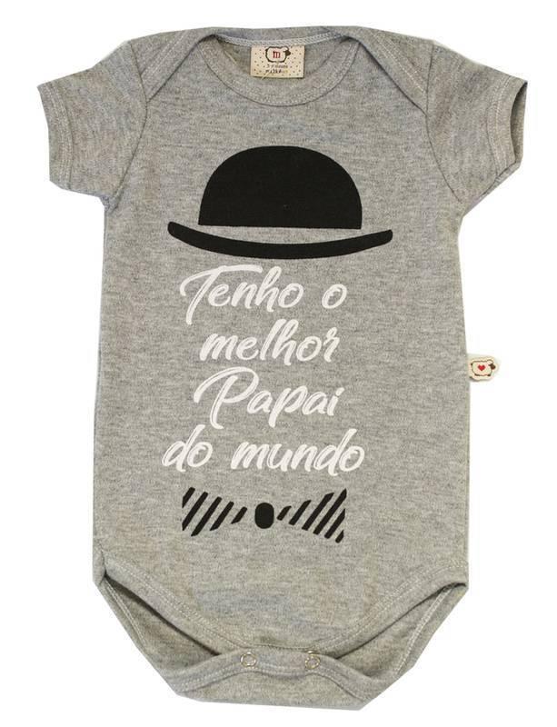 Body Bebê Infantil Tenho o melhor papai do mundo Cinza