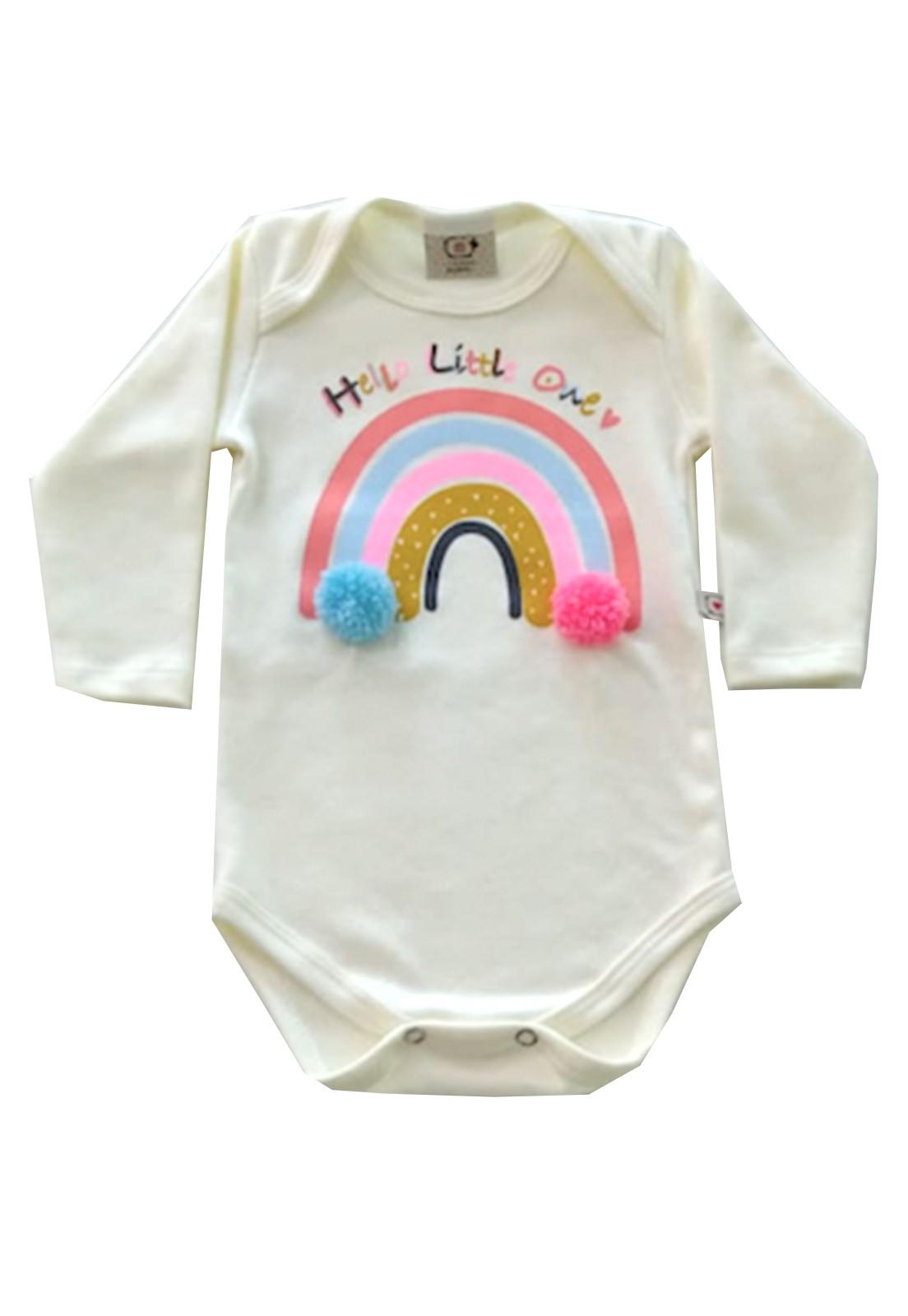 Body de bebê Arco-iris com aplique de Pompom