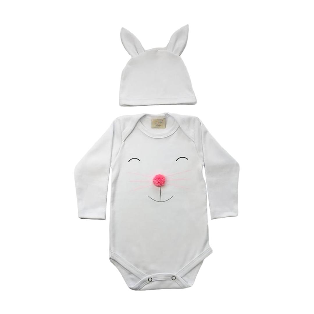 Body de bebê Coelhinho com touca de orelhinhas branco