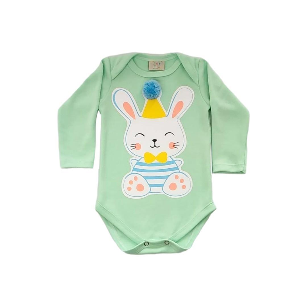 Body de bebê Coelho green com aplique de pompom