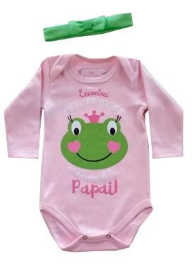 Body  de bebê Encontrei meu Principe / Papai Sapinho  com lacinho