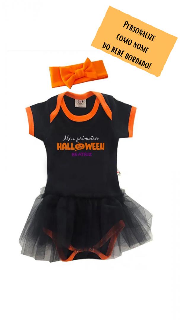Body de bebe fantasia personalizado meu primeiro halloween Milkfun