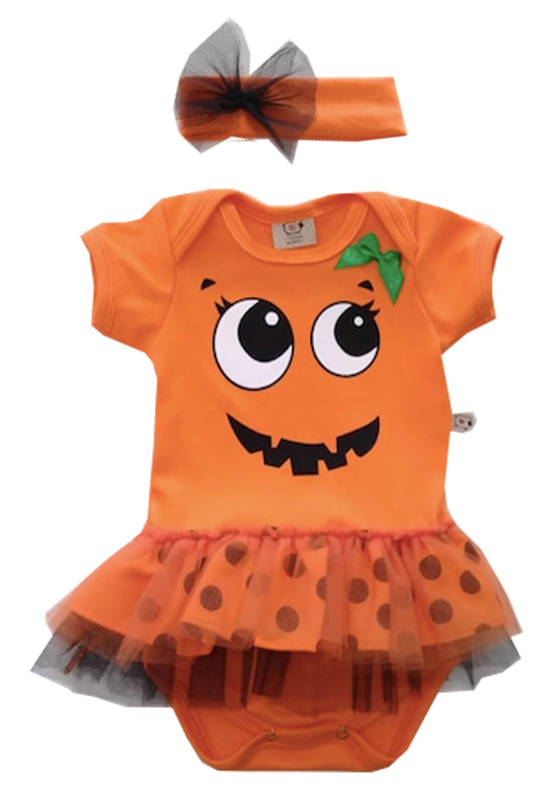 Body de Bebê Abobora Halloween Princessa