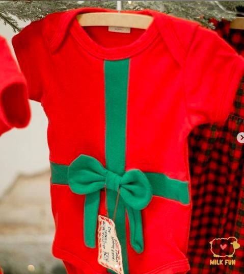Body de bebê infantil  Natal Melhor presente Laço  Milkfun