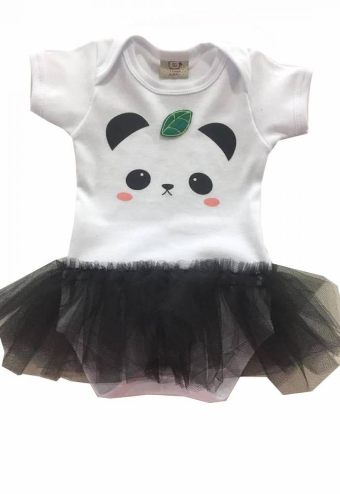 Body de Bebe Panda com sainha de tule.