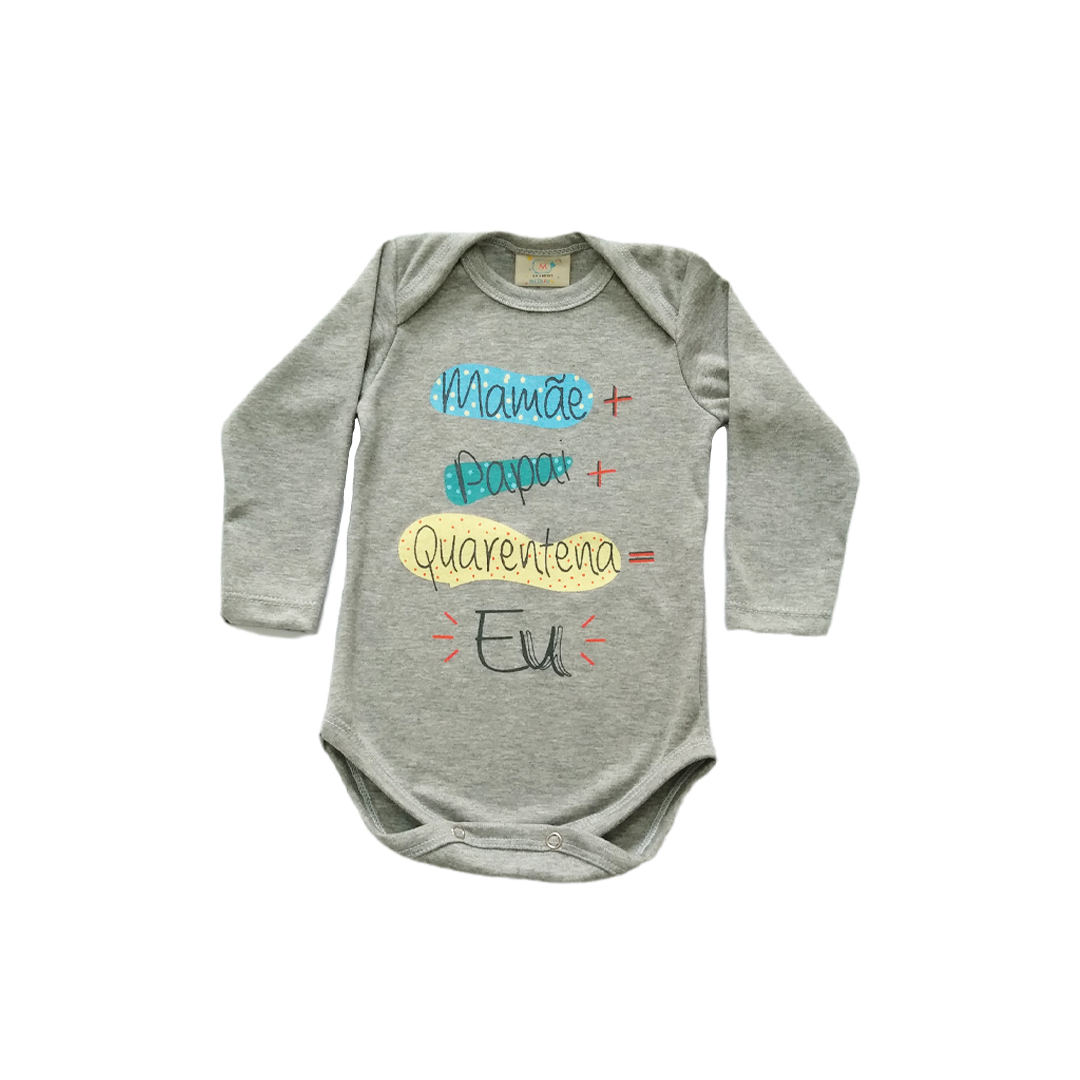 Body de bebê quarentena cinza Milkfun