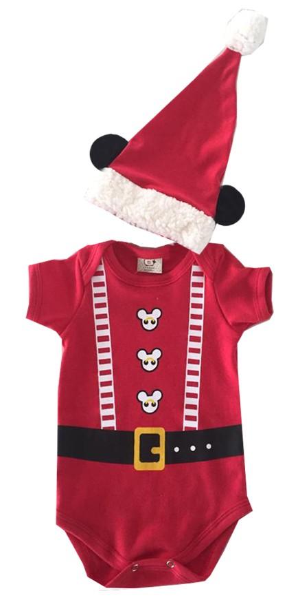 Body de Natal para bebê Infantil Mickey com Capuz de Orelhas.