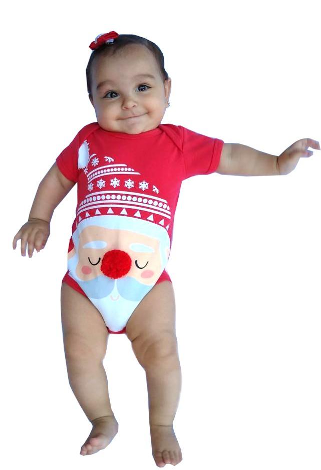 Body de Natal Papai Noel Pompom Unissex Milkfun