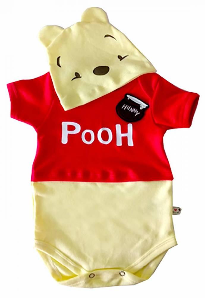 Body para bebê Ursinho Pooh com touca / Fantasia mesversario