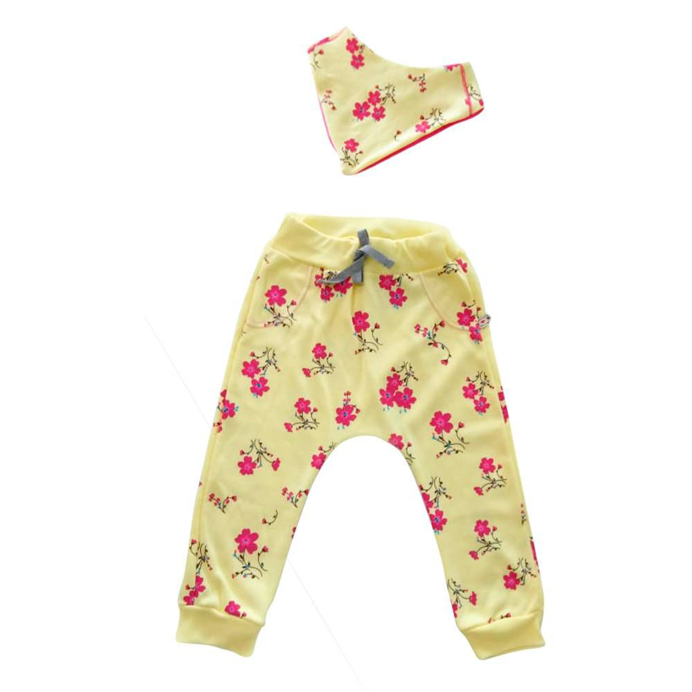 Calça de Bebê Menina Moletom Saruel Floral amarela e Bandana Floral