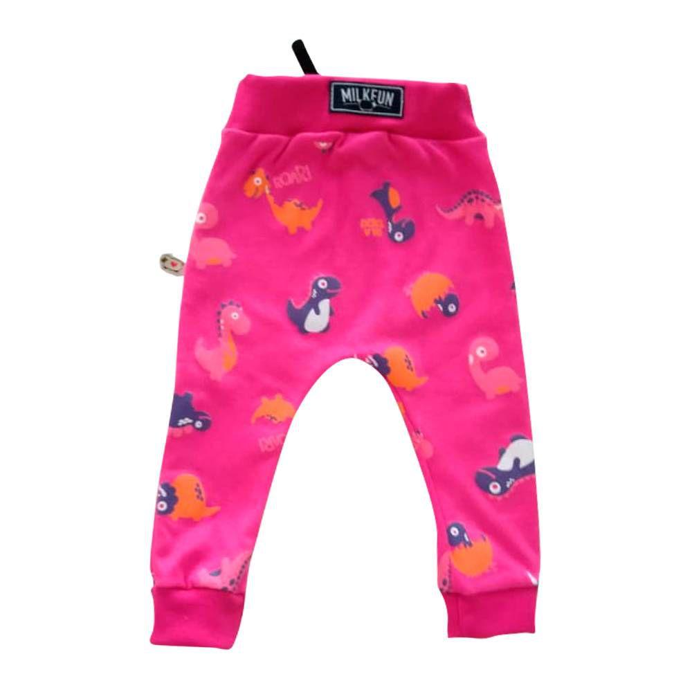Calça de Bebê Moletom Saruel Dino Pink
