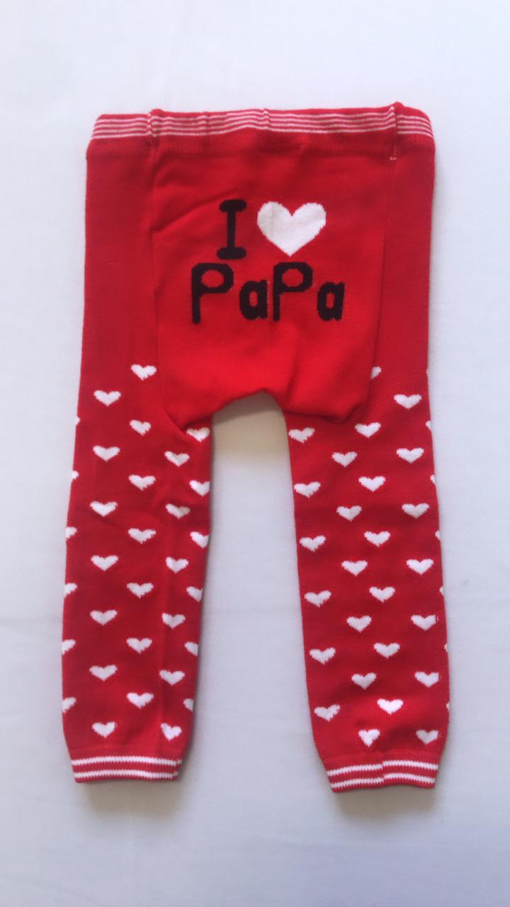 Calça infantil de lã bebê  amo o papai estilo meia calça vermelha