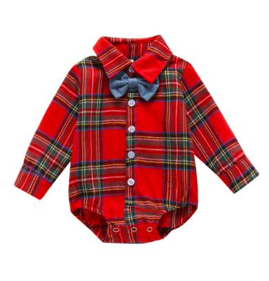 Camisa bebe menino Xadrez Flanelado Vermelho com gravatinha borboleta Natal