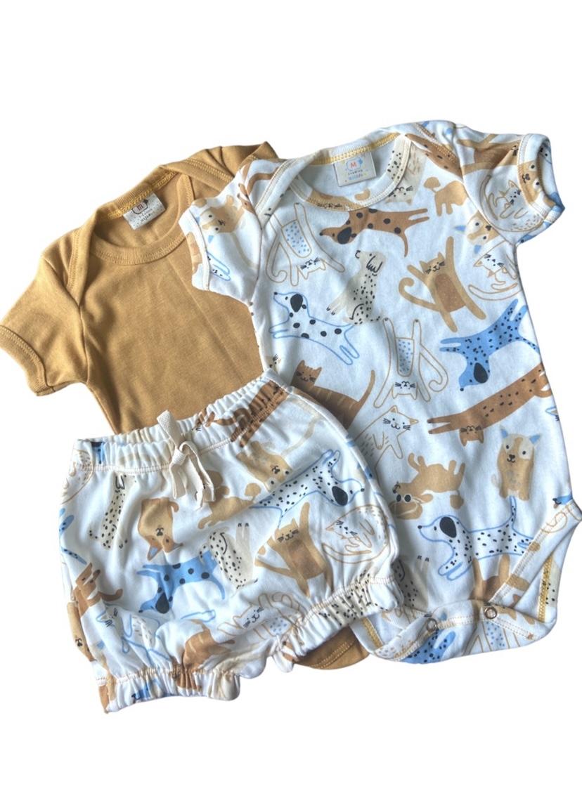 KIT Conjunto 3 peças cachorrinho unissex com shorts e 2 bodies.