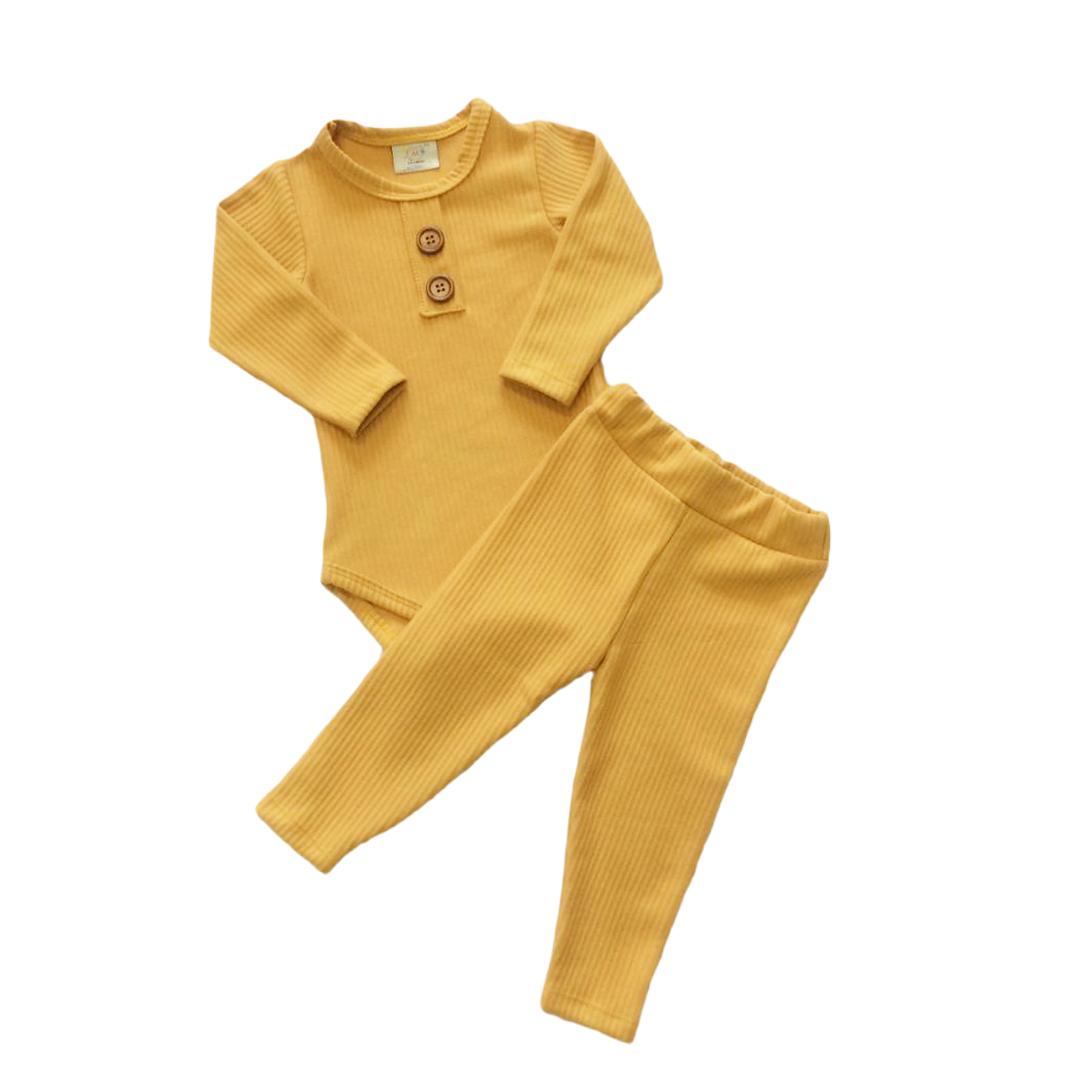 Conjunto de bebê infantil Canelado Mostarda