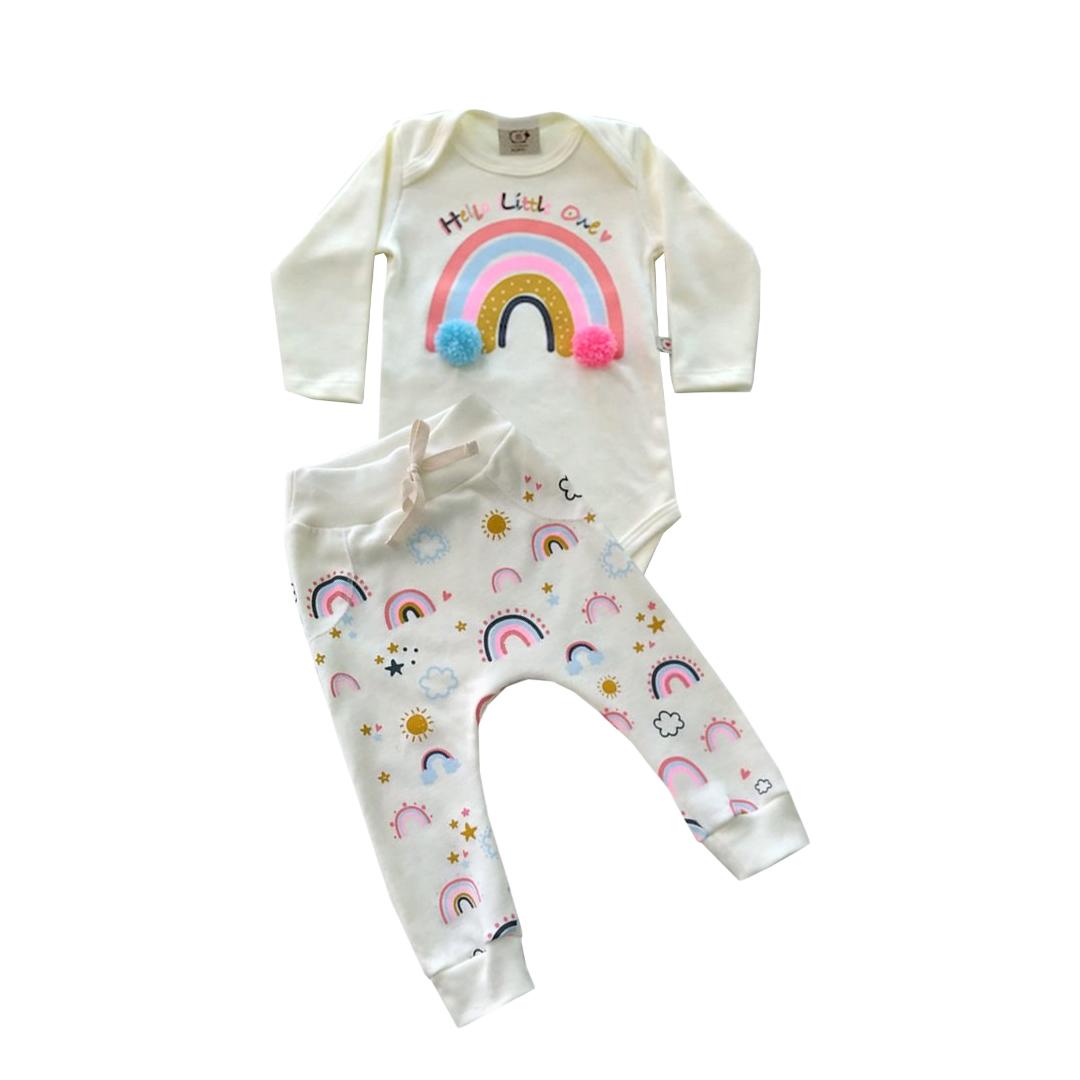 Conjunto de Bebê Arco-Iris com aplique