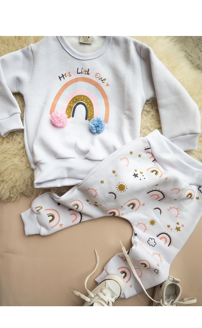 Conjunto de Bebê Arco-Iris moletom branco   com aplique