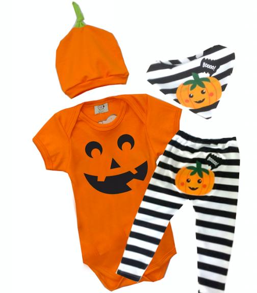 Conjunto de bebê com Body calça e bandana Abobora Halloween Milkfun