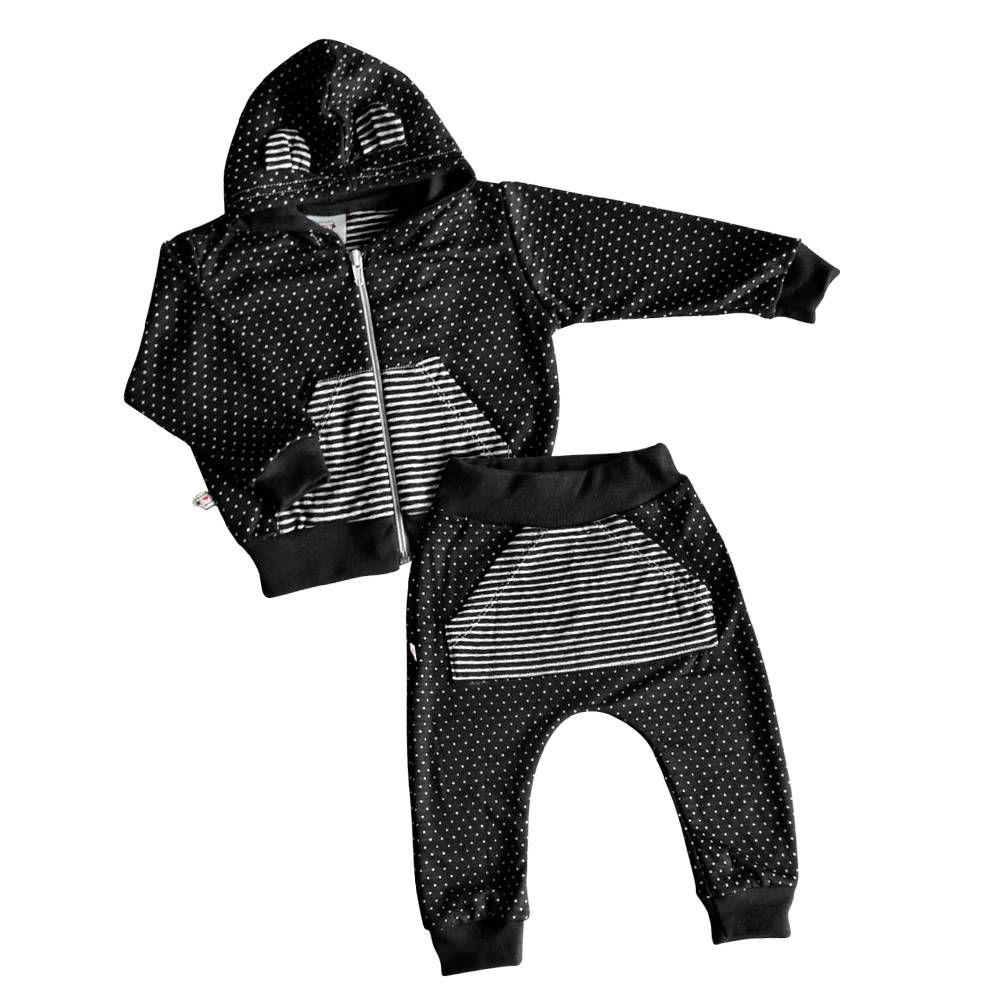 Conjunto de bebê com jaqueta e calça saruel poa preto