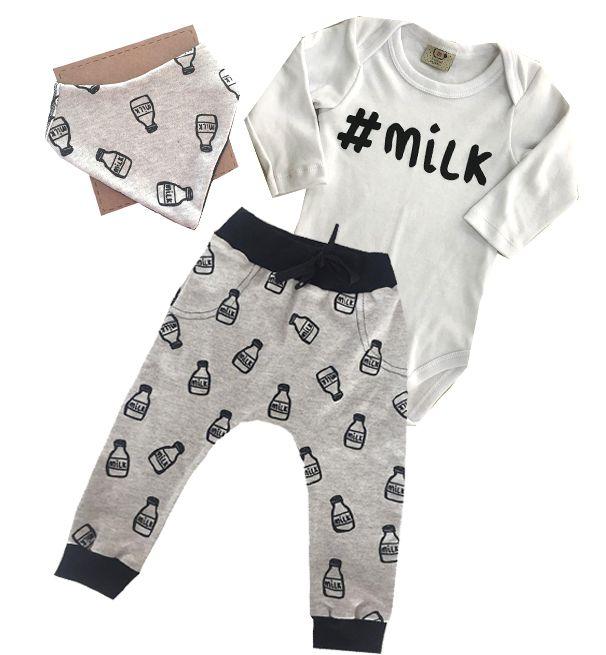 Conjunto de bebê Milk com Body , Calça Saruel e Bandana Cinza