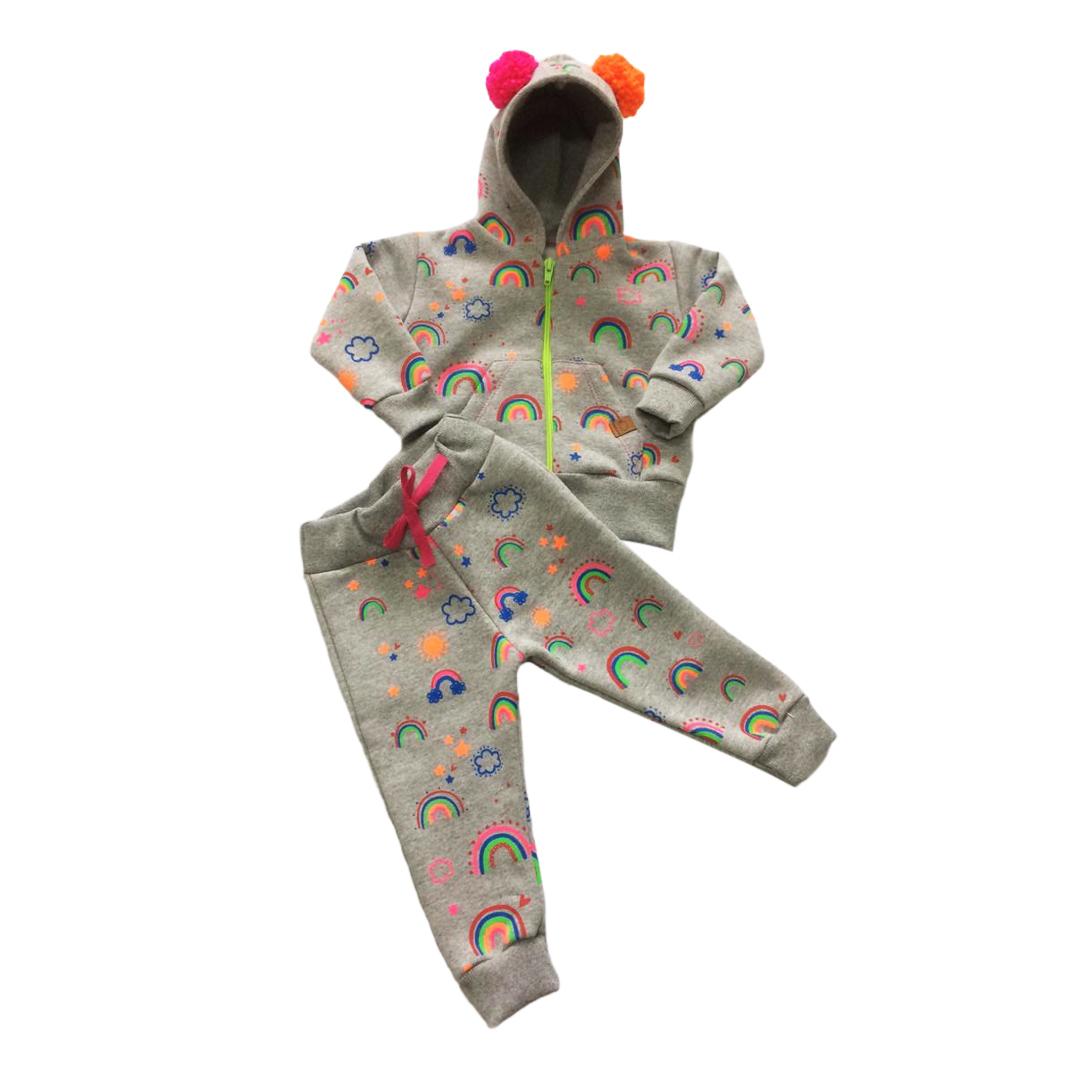 Conjunto de bebe infantil moletom Nuvem Colors com pompom