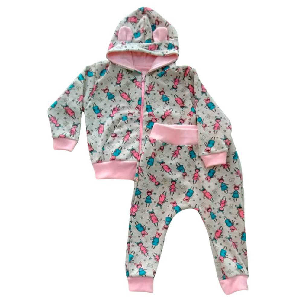 Conjunto de bebê  Boneca de Bebe Menina Rosa com Capuz e Orelhinha