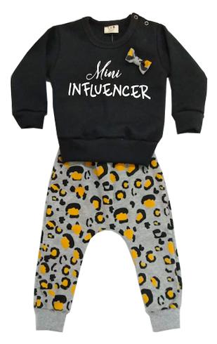 Conjunto infantil de Moletom Mini Influencer Oncinha Milkfun