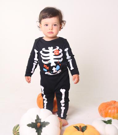 Conjunto Infantil para Bebê  Esqueleto  de Halloween  com Body e calça