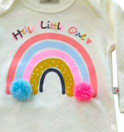 Conjunto longo de Bebê infantil Arco-Iris com aplique