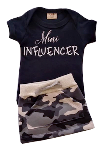 Conjunto Mini Influencer com mini Saia Camuflada