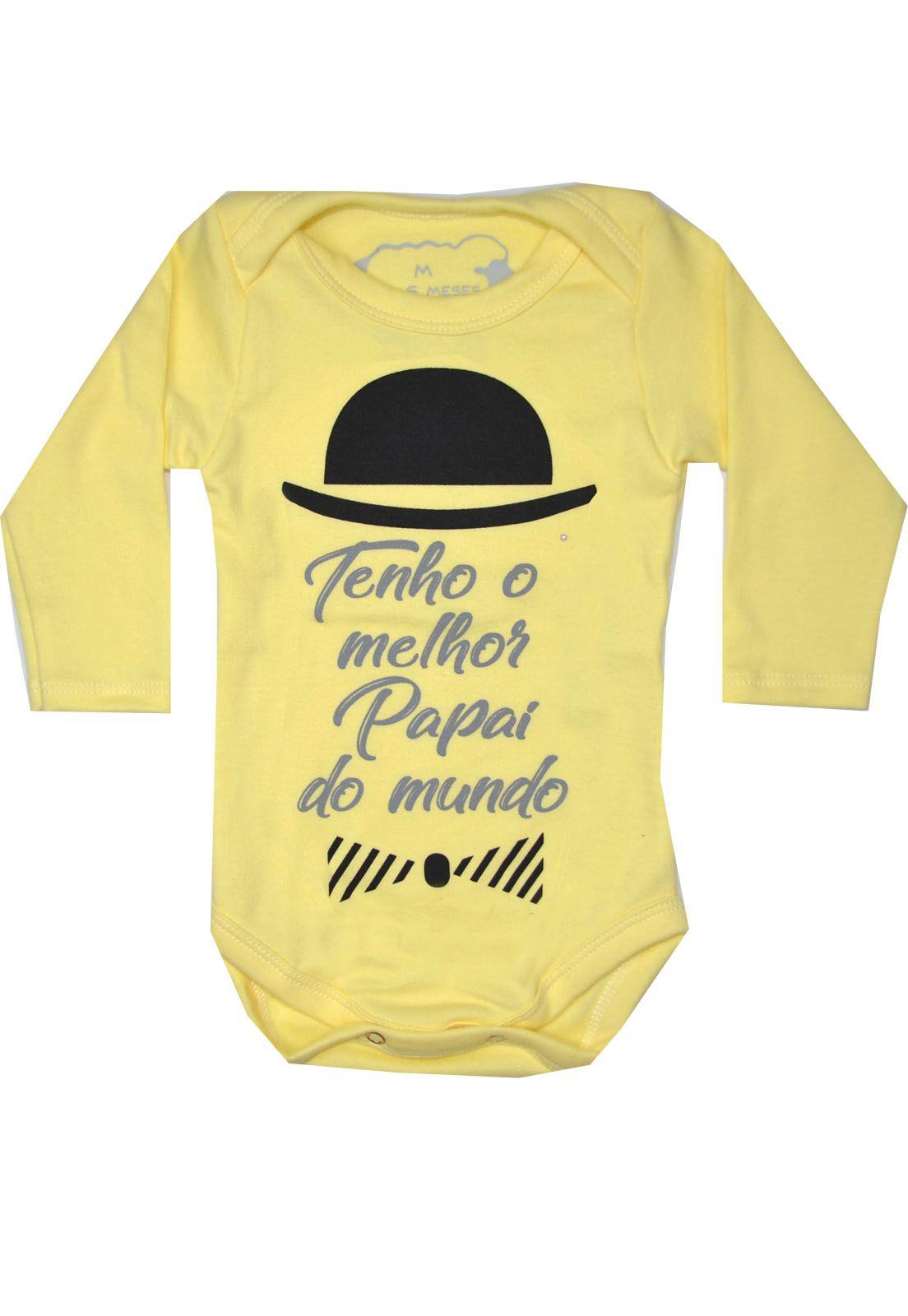 Body Bebê Infantil Tenho o melhor papai do mundo amarelo