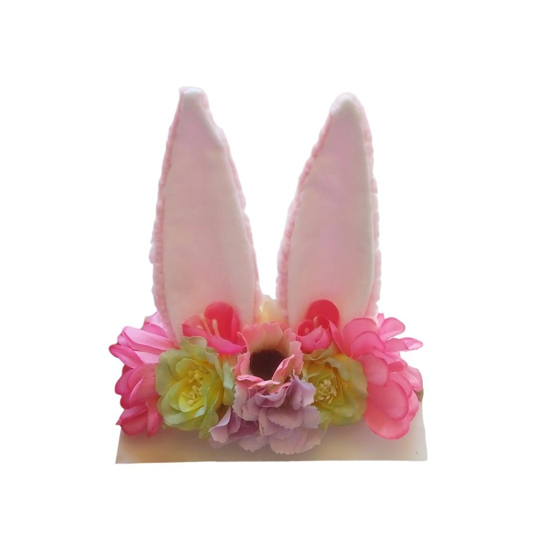 Faixinha de cabelo com orelhinha de coelho e flores Pink