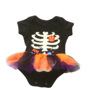 Kit Body de bebê infantil esqueleto com fru-fru  halloween mais Polaina Listrada Milkfun