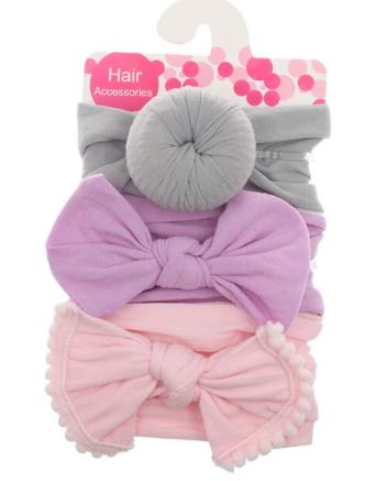 kit com 3 bandanas de cabelo com laço Cinza/ rosa e lilas