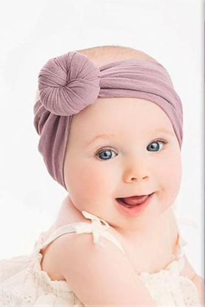 kit com 3 bandanas de cabelo com laço Cor rosinha/lilas