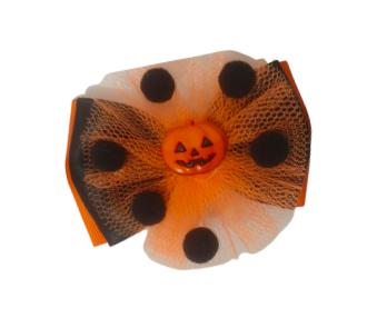 Laço de bebe infantil Halloween abobora com pompom laranja / preto Milkfun