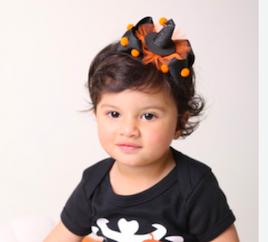Laço de bebe infantil Halloween Chapeu da bruxinha com pompom