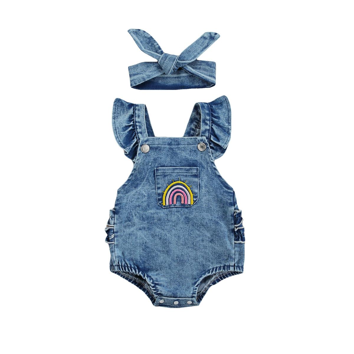 Macaquinho de bebê Jeans Arco-iris ( pre-venda ! reserve o seu)