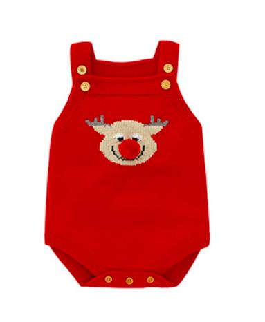 Macaquinho de trico para Bebê Natal  Rena Pompom Milkfun