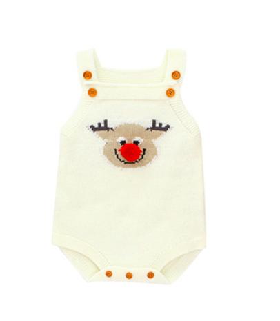 Macaquinho de trico para Bebê Natal  Rena Pompom Milkfun BRANCO
