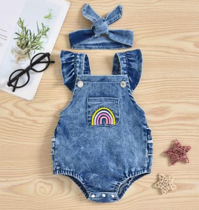 Macaquinho Jeans Menina Bebe arco-iris
