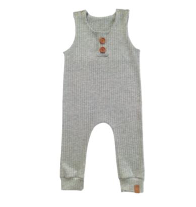 Macaquinho regata  de bebê / infantil canelado cinza mescla Milkfun