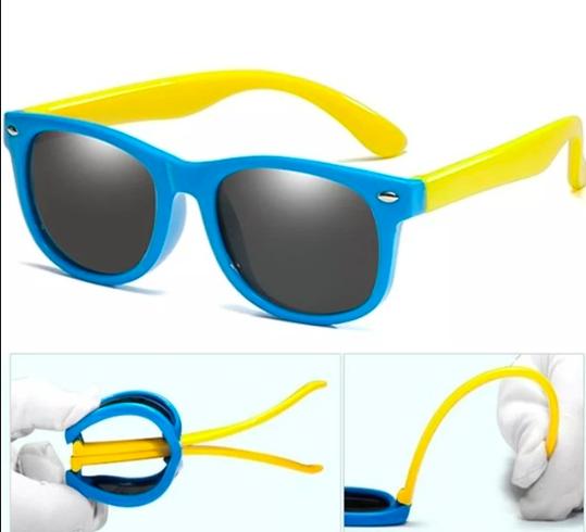 Oculos Infantil / bebê super Flexivel protecao solar . Azul com aste amarela