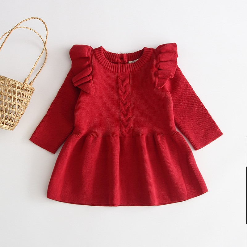 Vestido de bebê trico Vermelho Milkfun