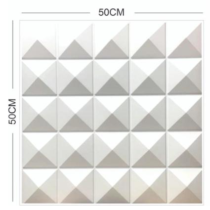 Kit 04 Placas 3D - Modelo Pirâmide - 50x50 ( Total de 1m2 )